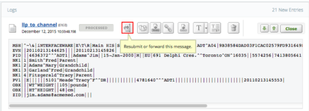 Within Iguana logs is the re-submit message feature, giving you the ability to re-send, re-route, and reprocess inbound messages from the logs screen
